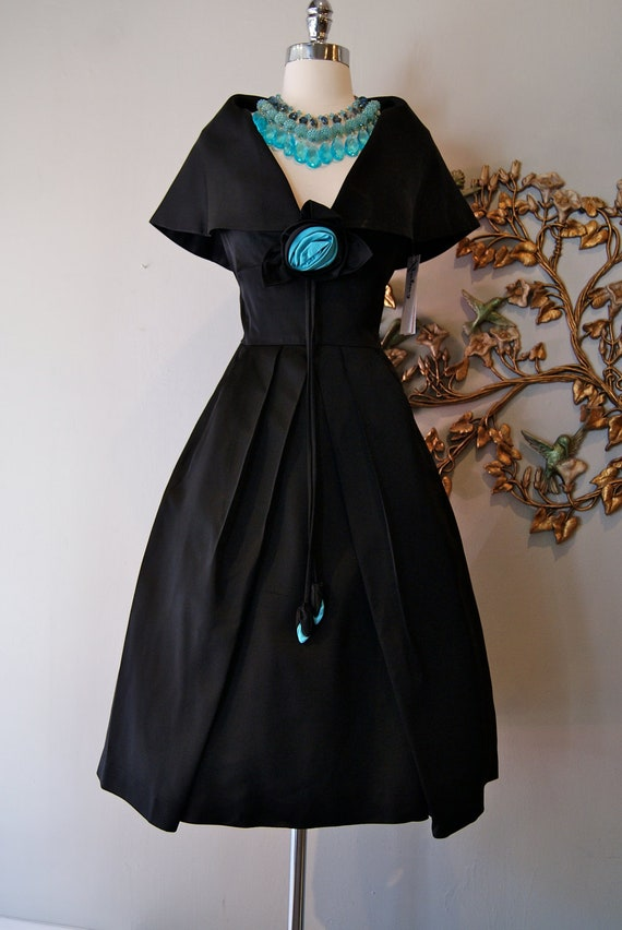 50s Dress // 60s Dress // Vintage 50s 60s Black Cocktail Dress with Shawl Collar and Turquoise Rosettes by Jackie Morgan California Size S