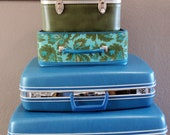 Set of Vintage Blue Suitcases- Samsonite Silhouette