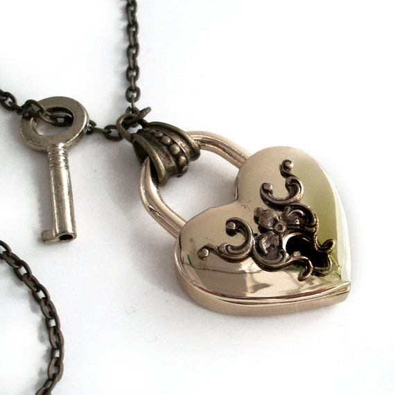 Padlock Necklace Handmade Jewelry - Secrets of the Heart - Victorian Style Padlock Pendant