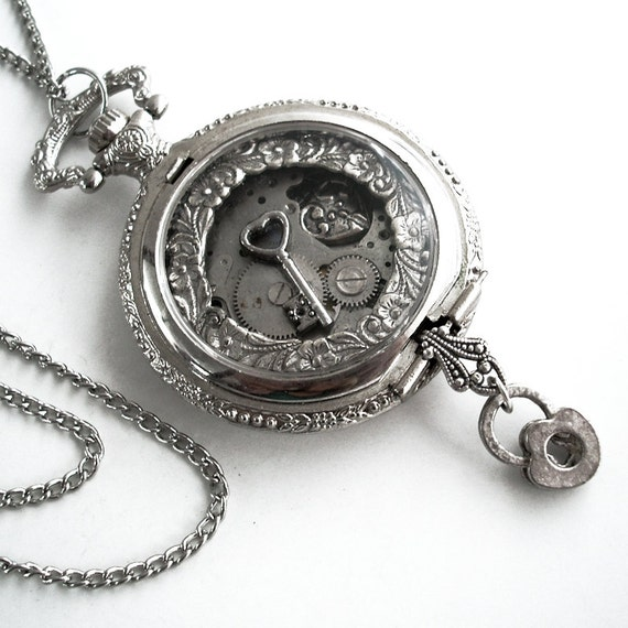 Key to True Love - Pocket Watch Collage Steampunk Pendant