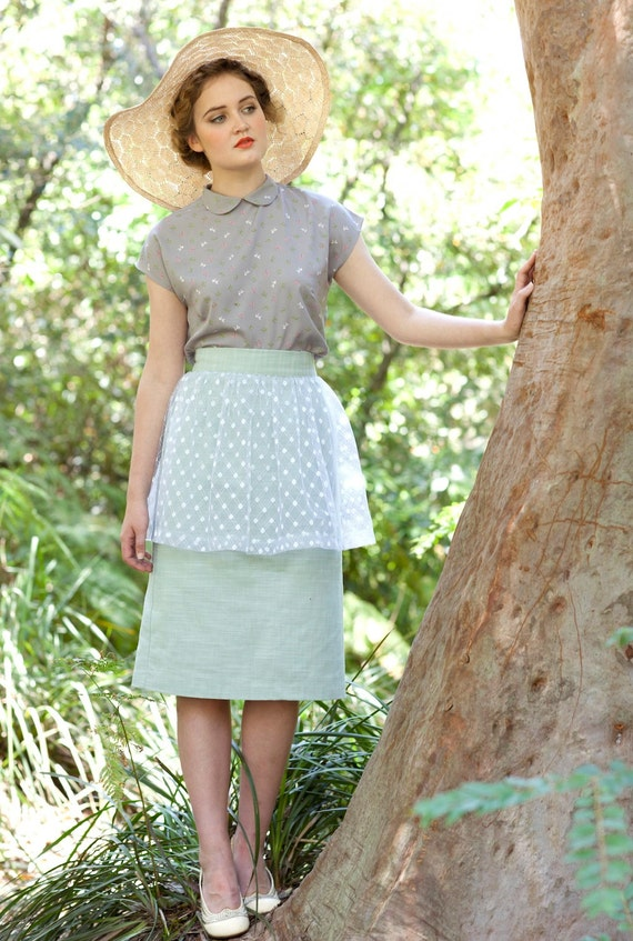 pastel green wiggle skirt with tulle peplum and high waist