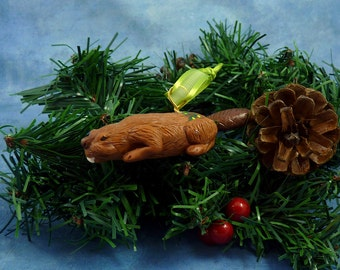 Xmas Beaver Ornament with Tree Tush, Handmade Christmas Decoration