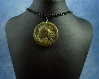 Green Resin Cthulhu Cameo Necklace, Polymer Clay Lovecraft Jewelry
