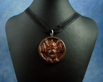 "Dark Red ""the Hound"" Amulet Necklace, Polymer Clay Jewelry"