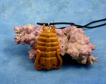 Brass Trilobite Necklace, Handmade Polymer Clay Jewelry