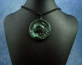 Dark Green Cthulhu Cameo Necklace with Chain, Polymer Clay Jewelry