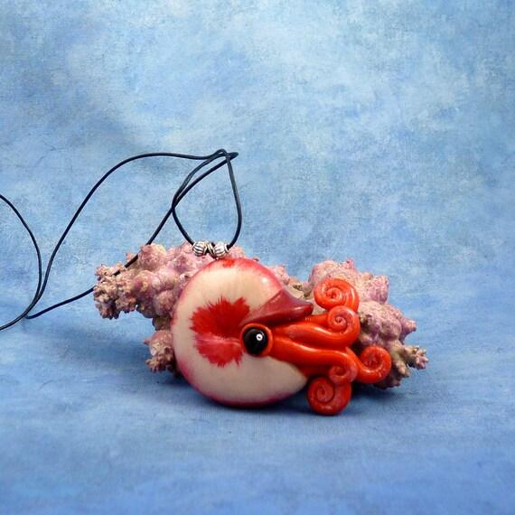 Vivid Red Nautilus Necklace, Polymer Clay Cephalopod Jewelry