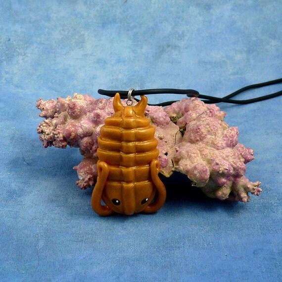 Brass Trilobite Necklace, Handmade Polymer Clay Jewelry