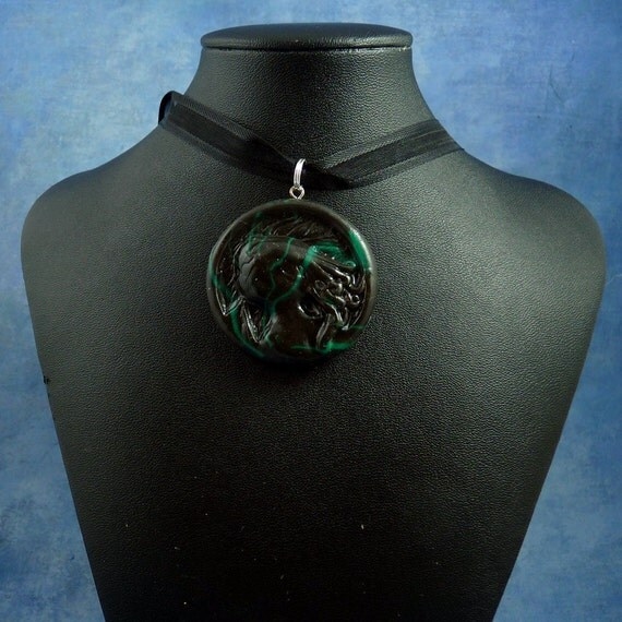 Black Marble Cthulhu Cameo Necklace, Handmade Polymer Clay Jewelry