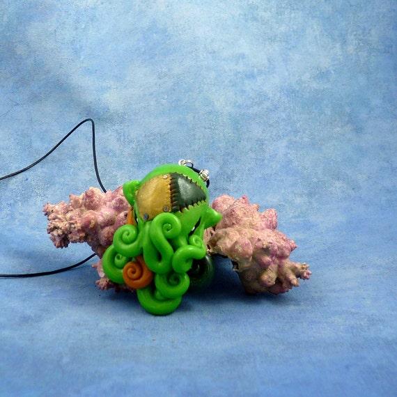 Frankenpod Octopus Necklace, Polymer Clay Halloween Jewelry