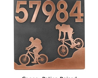 """Mountain Bike Address Plaque, Bicycle Address Sign, Bike House Plaque, 12"""" square Made in USA"""
