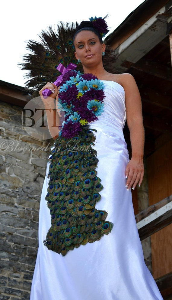 Off Beat Bespoke Peacock Feather Fabric Flower By