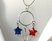 Patriotic and Fun JULY 4th Dangle FIREWORKS Charm NECKLACE Glass Stars Red White and Blue