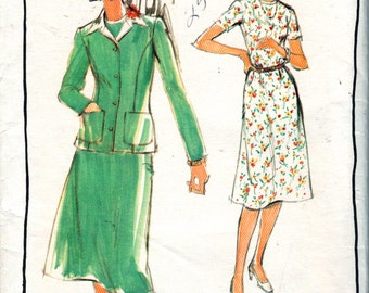 Butterick 5350 1970s Misses Classic DRESS and Princess Seam JACKET Pattern Womens Vintage Sewing Pattern Size 16 Bust 38 UNCUT