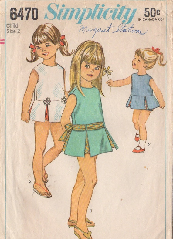 Simplicity 6470 1960s Toddlers  Low Waisted Dress  and Panties  Pattern  Girls Vintage Sewing Pattern Size 2 Breast 21