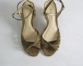 SHOE SALE!  SUEDE strappy ankle strap wedges by Etienne Aigner, 6.5