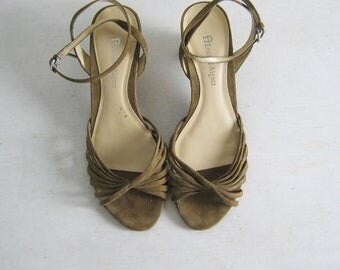SALE  MOSS SUEDE strappy ankle strap wedges by Etienne Aigner, 6.5