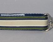 Key fob Keychain wristlet masculine striped ribbon on navy blue webbing