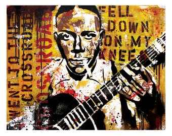 Robert Johnson Delta Blues Guitar Art Print Poster 18 x 12