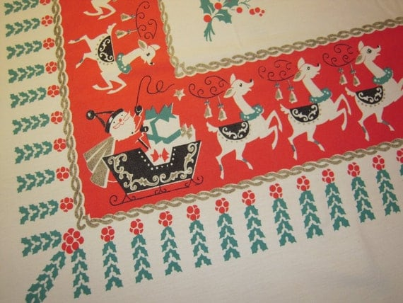 CHRISTMAS Tablecloth Happy Santa & His Reindeer Signed