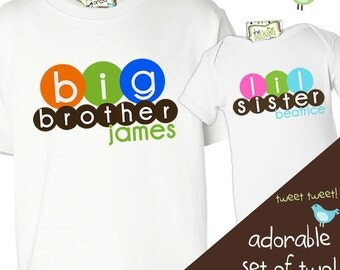 Big or lil brother or sister matching multicolor circles sibling Tshirt set