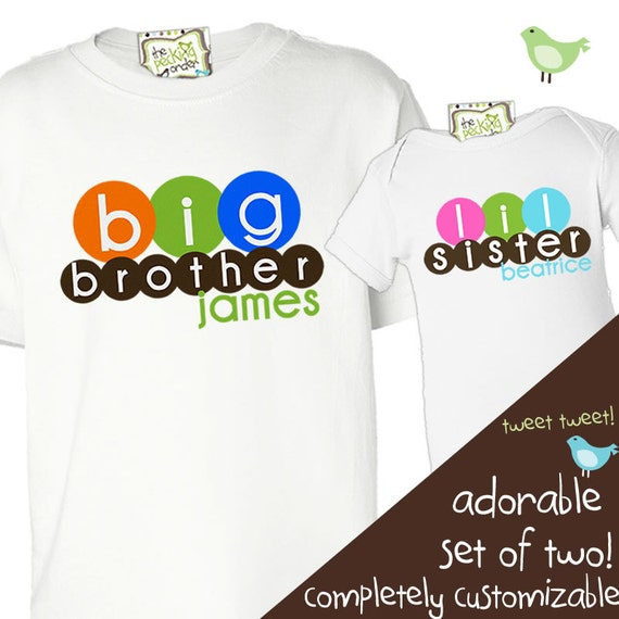 Big or lil brother or sister matching multicolor circles sibling Tshirt set