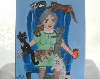 Popular items for crazy old cat lady on etsy for Crazy mural lady