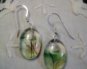 Garden Collection Fused Glass Earrings - Pink and Green Confetti on Clear with Black Streamers