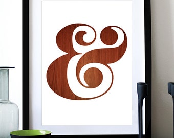 Poster ampersand print typography retro graphic design kitchen art office wall decor nursery art mid century modern - Ampersand - Wood A3