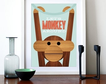 Poster Danish monkey print Mid century modern quote kitchen art retro nursery art Kay Bojesen - Let's Monkey Around A3