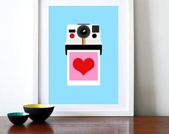 Polaroid poster print retro photography vintage camera kitchen art office - Instant Love A3