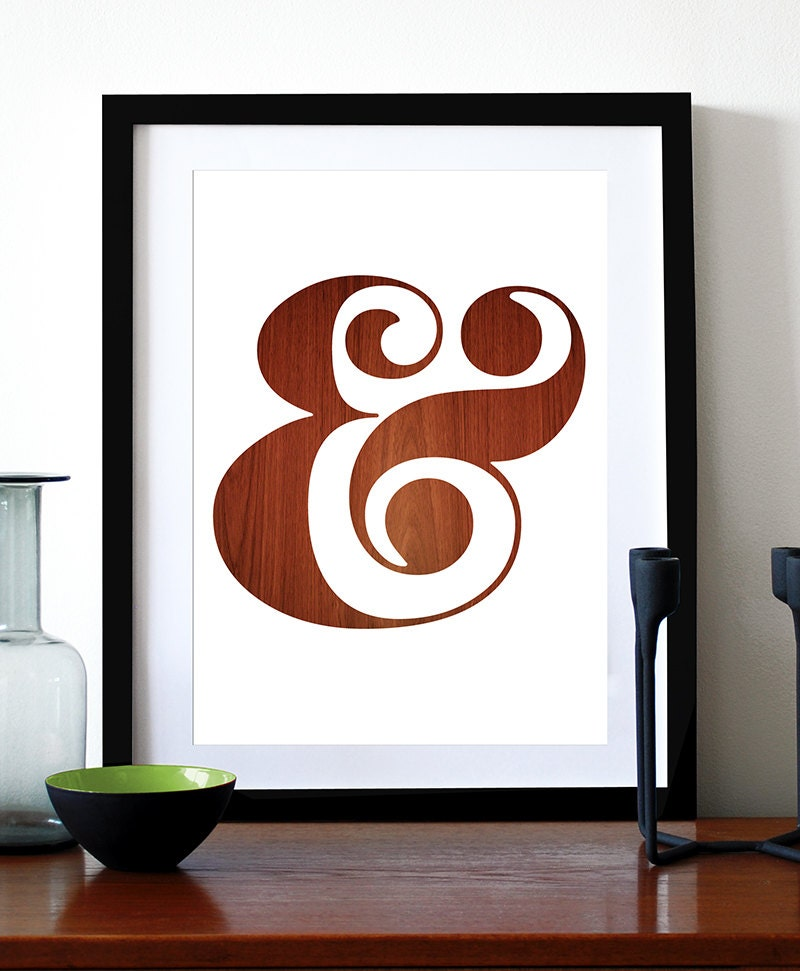 Poster ampersand print typography retro graphic design kitchen for Ampersand decor