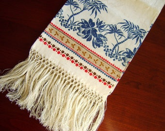 Antique Linen Damask Towel - Unused Victorian Edwardian Indigo Blue Turkey Red Abstract Palm Trees, Flowers, Fringe - Unused