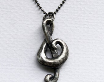 Aged Sterling Treble Clef with silver ball chain