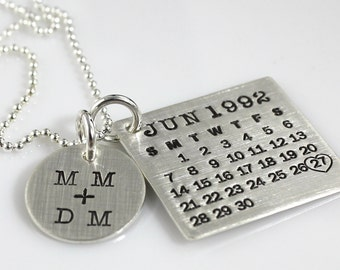 Mark Your Calendar Necklace with You plus Me Charm - personalized sterling silver necklace