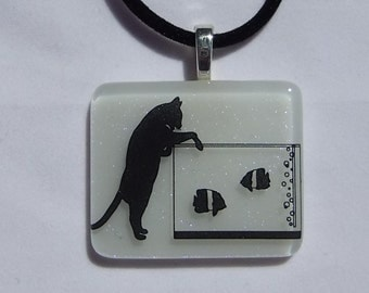 Cat gone fishing black and white fused glass pendant 1561