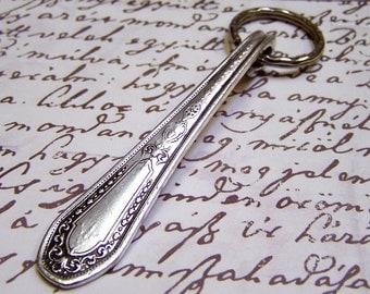 Key Ring Handcrafted Vintage Spoon Handle Community Plate HAMPTON COURT 1920s Silverware Flatware
