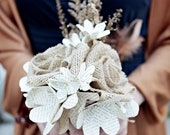 Burlap & Vintage Book Page Flower Bouquet - Rustic Wedding - Made to Order (Bridemaid's, Toss Bouquet)