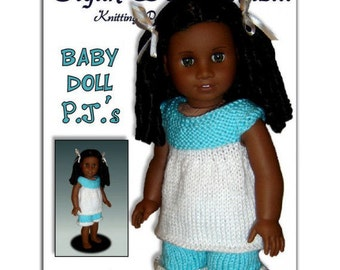 Knitting Pattern, fits AG, American Girl and 18 inch doll. Pajamas. PDF, Instant Download 104