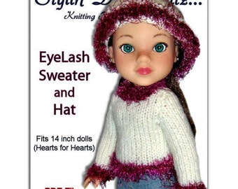 Knitting Pattern. Fits Hearts for Hearts Doll. Sweater and Hat  PDF, Instant Download 254