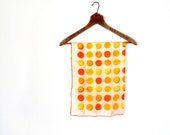 1960s Scarf / Moon Phases / Silk Scarf / Orange and Yellow