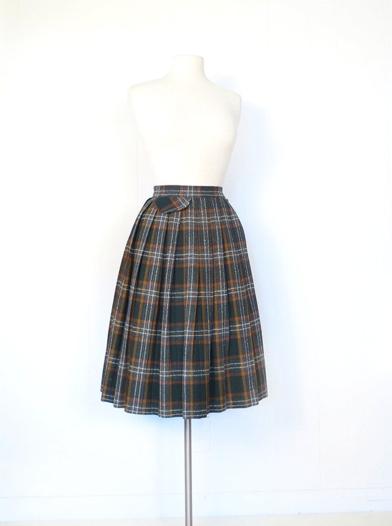 vintage 50s skirt plaid pleated skirt fox by