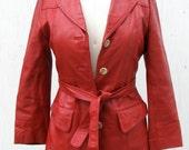 Cherry Red Leather Blazer // 1970s // Jacket