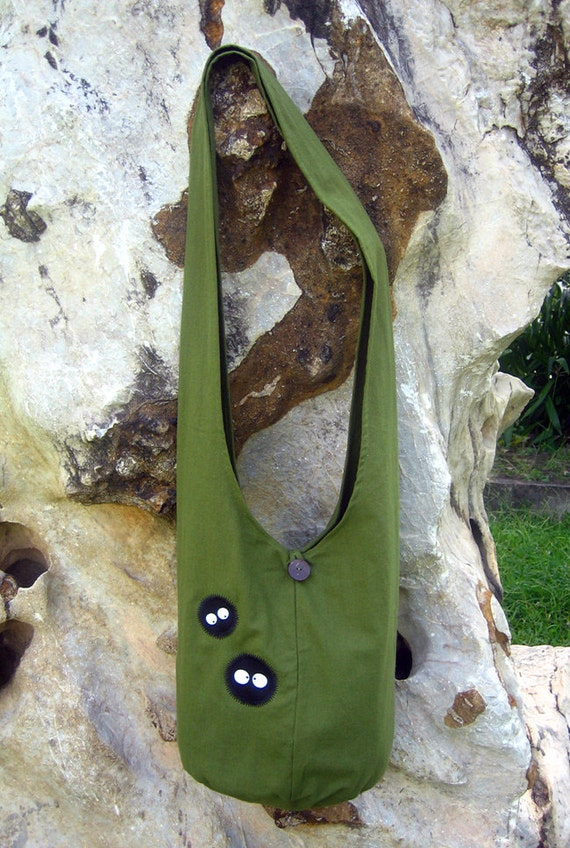Spirited Away Totoro soot sprites Hip Shoulder Sling Bag cotton Thai Cotton 24 green