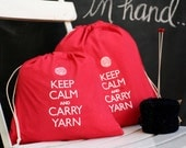 Small knitting project bag - Keep Calm and Carry Yarn - red