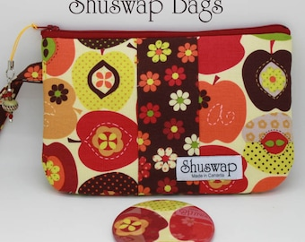Apples and Flowers Wristlet and Mirror Set