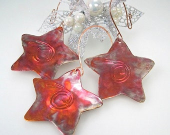 Copper Stars Christmas Ornaments, Rustic Eco Friendly Metal, Holiday Decor - Set of 3