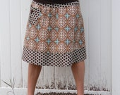Woman's A line skirt, Pocket with vintage button, Aviary 2, Lodge Lattice, Brown, Blue, cream, Joel Dewberry, plus sizes, size 2-22