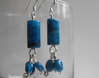 Blue Apatite Earrings, Silver and Blue Earrings, Sea Blue Earrings
