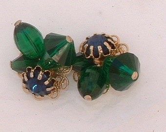 Bold Vintage Prystal Earrings in Emerald Green and Deep Blue